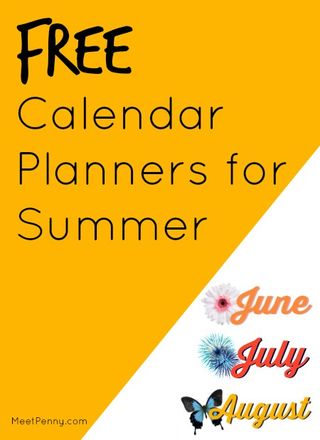 Free Printable Calendar Planners for Summer