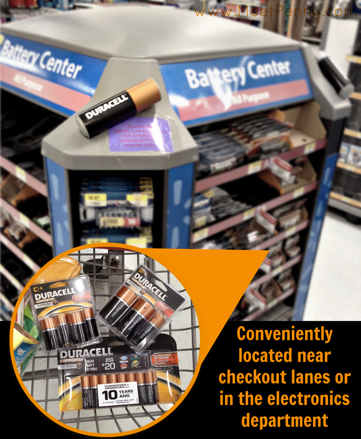 Pick up Duracell batteries near the checkout at Walmart