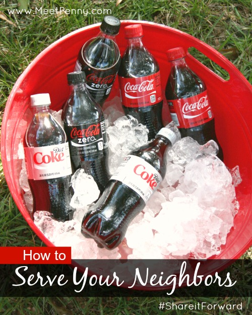 Super-friendly gesture. Share a Coke with a neighbor on a hot day when they are working in the yard. Just a nice way to #payitforward. #shareitforward #shop