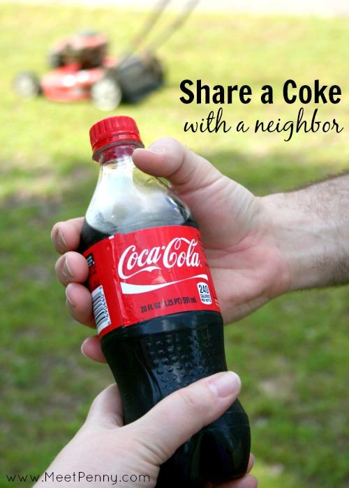 Pass a neighbor doing yard work? Offer an icy cold Coca Cola. #payitforward #shareitforward #shop