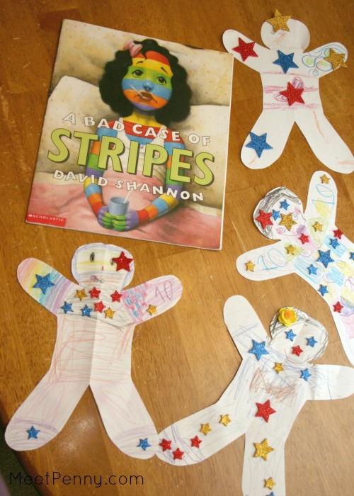 Art project for A Bad Case of Stripes - make a paper doll