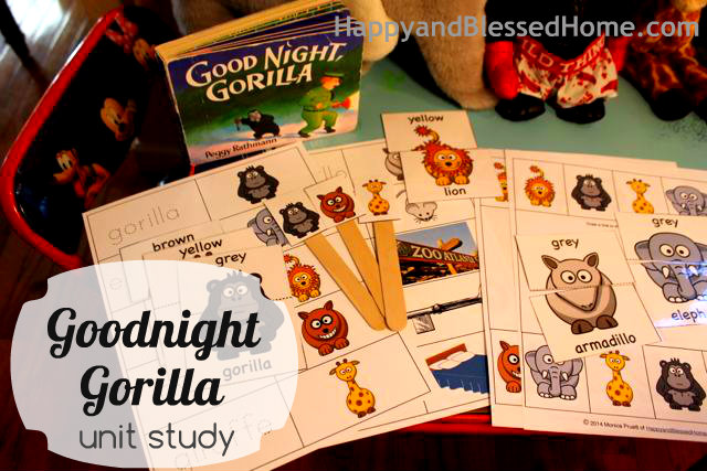 Ideas for a Goodnight, Gorilla Unit Study including free printable pack!