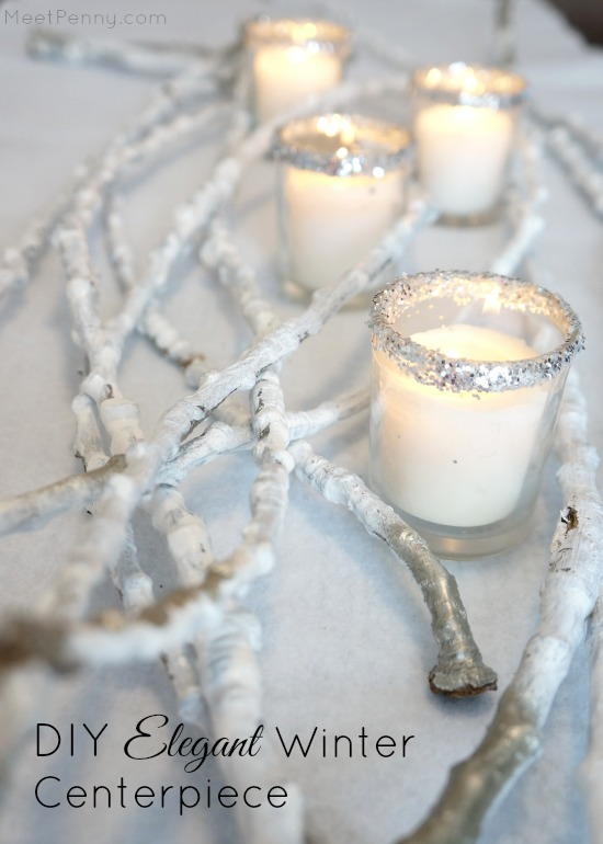 DIY Elegant Winter Centerpiece