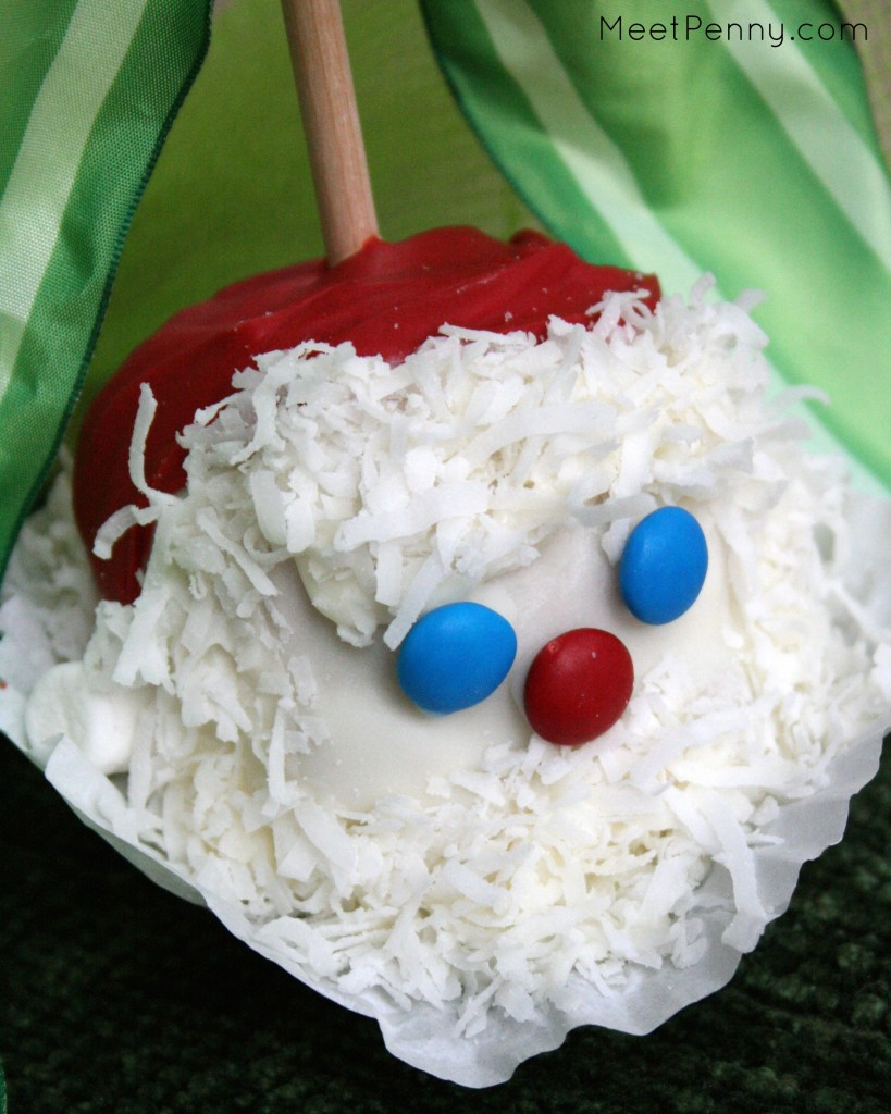 "Gift for the person who has everything... This Santa Gourmet Apple is as cute as he is delicious. Love the idea for making him a ""Dirty Santa!"""