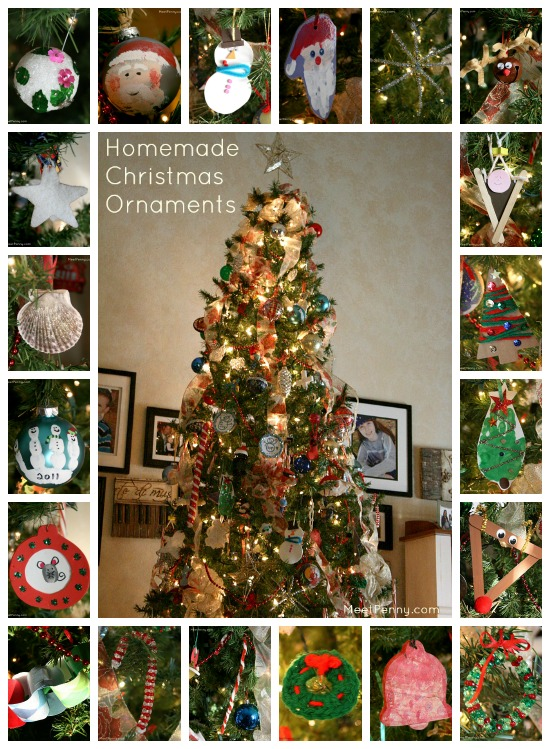 More than 20 examples of homemade Christmas ornaments on her tree. All are so easy that even a not-so-crafty person like me could do them!
