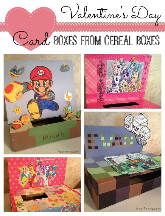 Valentine's Day Card Boxes from Cereal Boxes