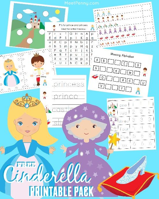 free Cinderella printable prek pack with over 30 activities
