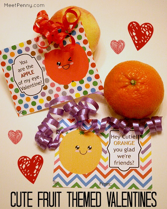 Give them fresh fruit themed valentines! Free printables to match pears, bananas, apples, and clementines.