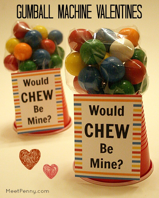 How cute are these gumball machine valentines? Made from a plastic bag and a red cup. Free printable too.