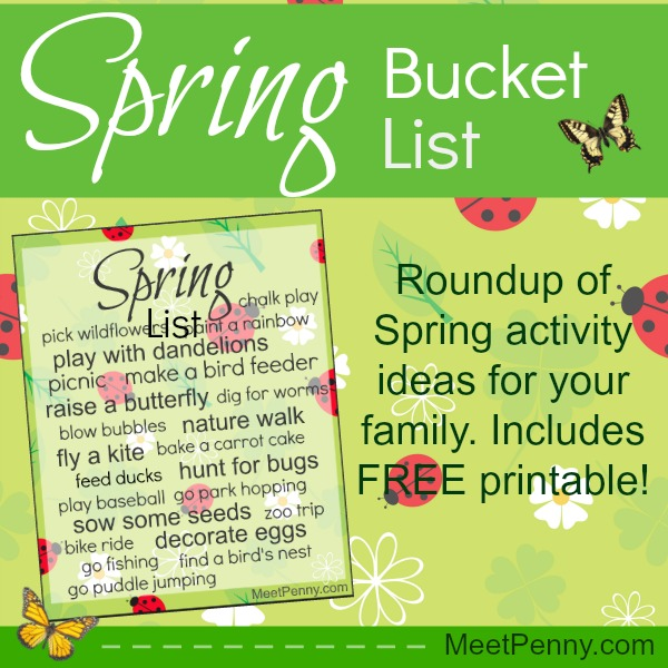 Free Printable Spring Bucket List with extra ideas too!