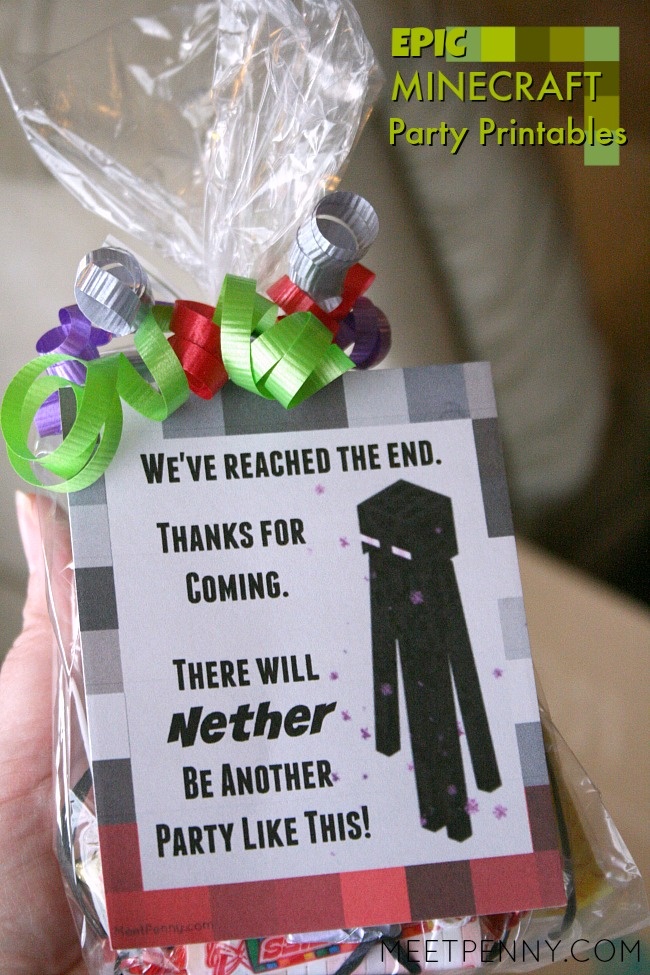 Free Minecraft party printables for Minecraft party favors! This is the best Minecraft birthday party I have seen and all of the Minecraft party ideas are completely doable without spending a small fortune. She includes Minecraft party printables and has great ideas for Minecraft party decorations, games, and more!