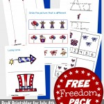 FREE 4th of July preschool printables. Great for Labor Day too. 20+ pages of printables for patriotic preschool fun!