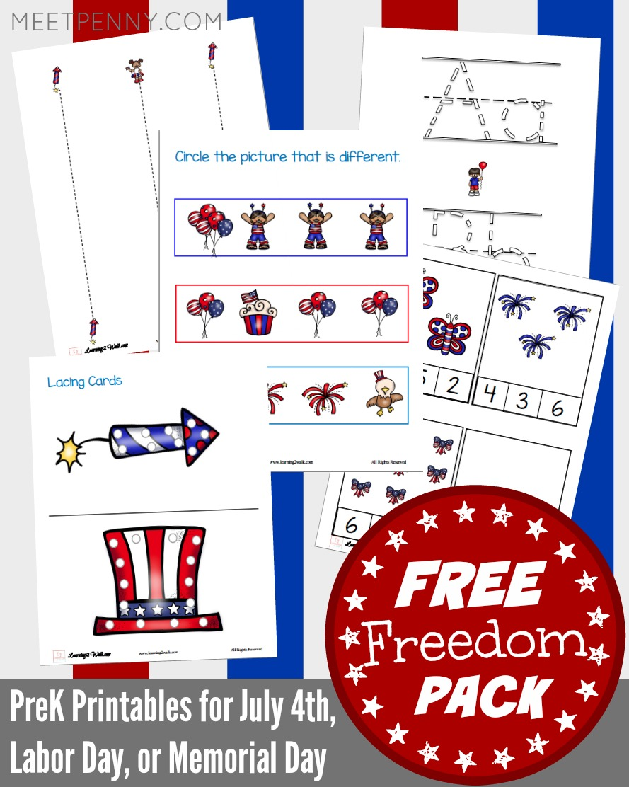 FREE PreK Printables for July 4th or Labor Day