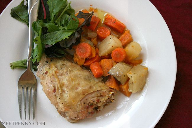 Slow Cooker Chicken Thighs with Root Vegetables (Weekend Potluck)