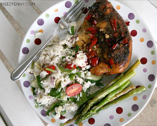 Slow Cooker Balsamic Chicken with Zesty Rice Salad (Weekend Potluck 184)