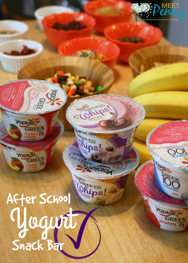 A quick and easy after school snack... create a yogurt bar where the kids can top their favorite yogurt with lots of goodies. #ad #SnackandSmile