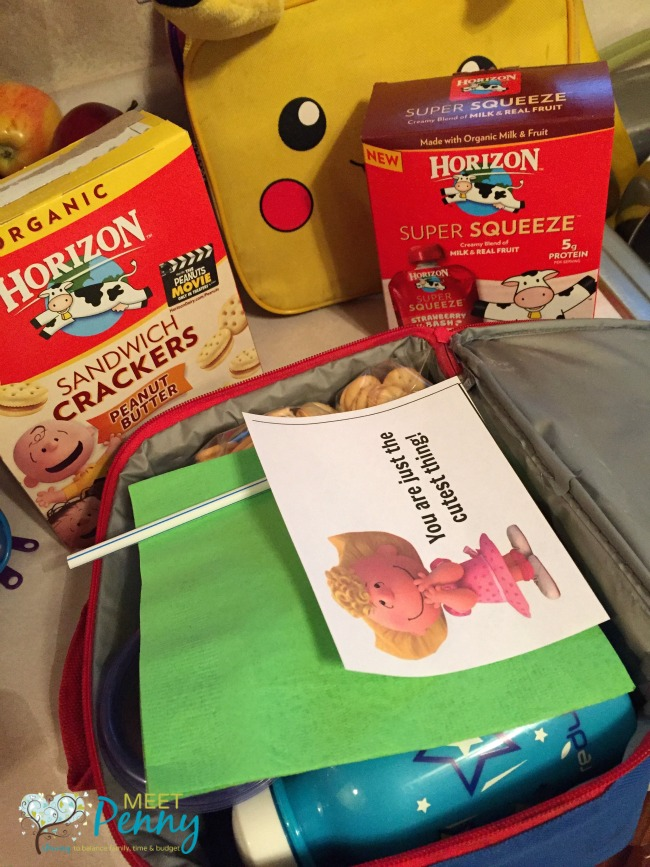 Who doesn't adore the lovable Peanuts Gang characters? Can't wait to send these free printable lunch box notes with my children. I love her idea of a lunch packing station too. #HorizonLunch #ad