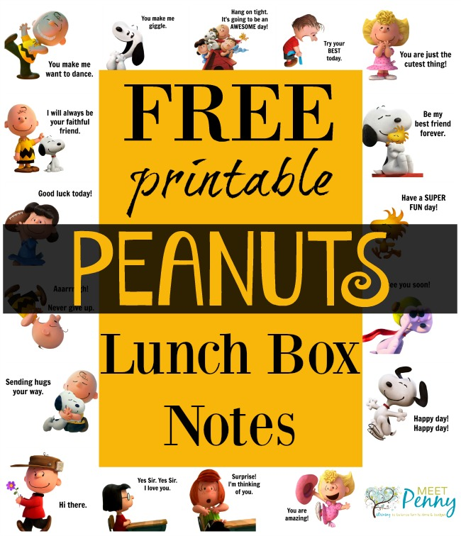 The Lunch Box Station and Free Printable Peanuts Themed Lunch Box Notes