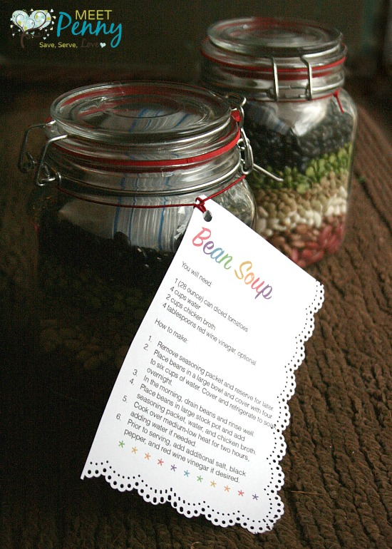 A delicious and comforting gift in a jar. Give 5 Bean Soup as a gift for neighbors, teachers, community servants, church staff... anyone! Final cost is about $3 to $4 per gift. Includes free printable gift tag.