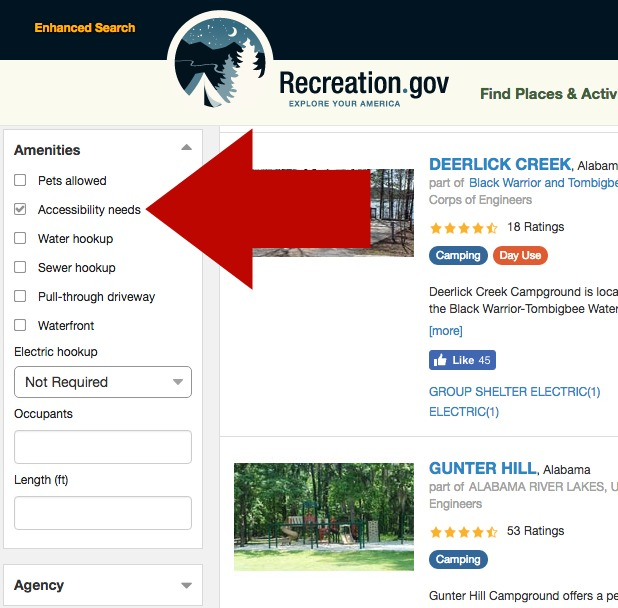 Great tips for camping with special needs children! You can find campgrounds with handicap accessibility using this search.