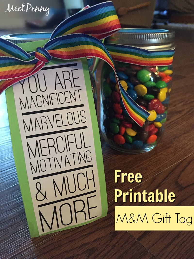 M&M Teacher Gift Printable