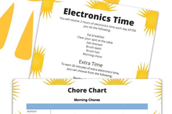 Free Summer Chore Chart Printable
