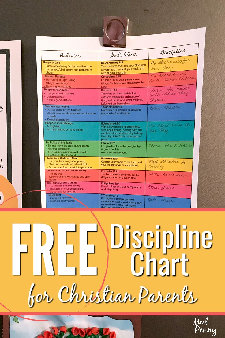 Having a set of if-then behaviors and reactions helps parents respond wisely to their children without overreacting or being angry. This free printable discipline chart for Christian parents includes Scripture and a place for choosing an appropriate consequence for misbehavior.