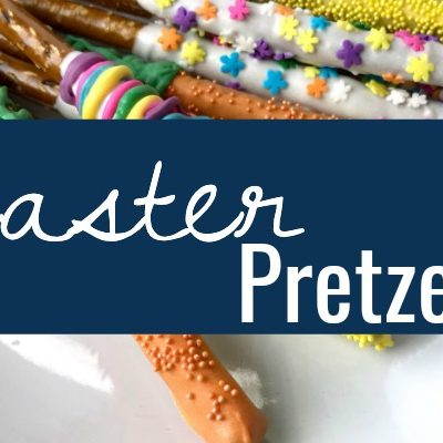 Easter pretzel rods are an adorable addition to an Easter party and a great stuffer for an Easter Basket. This Easter pretzel rods tutorial makes it simple!