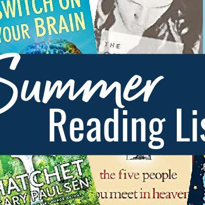 Summer reading for 3rd grade, 6th grade, 8th grade, 10th grade, and mom.