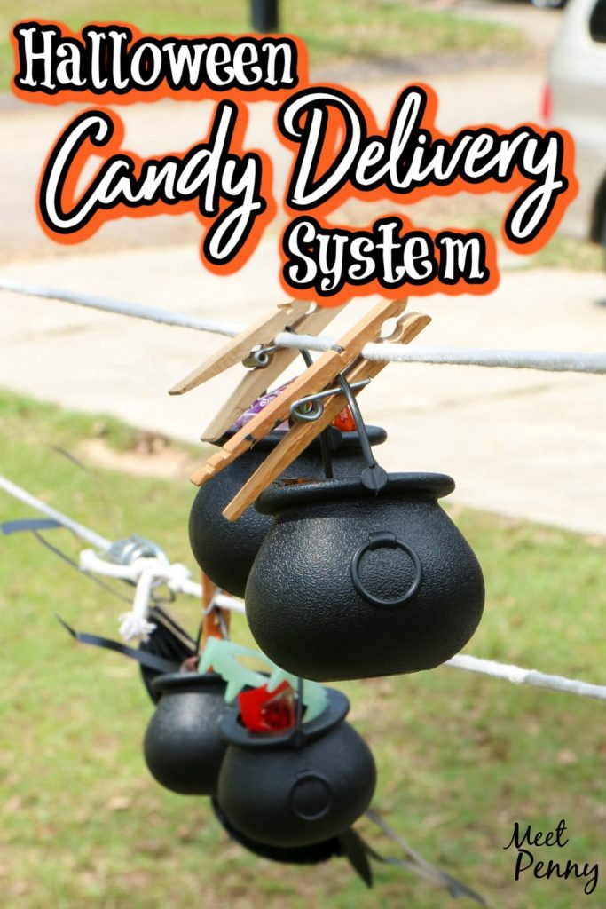 This Halloween candy delivery system is super easy to create. You only need a few things to make a socially-distanced Halloween pulley system for candy.